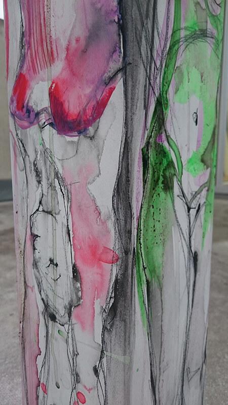 ca. 160 cm x 20 x 20 cm | Mischtechnik aufMDF Detail